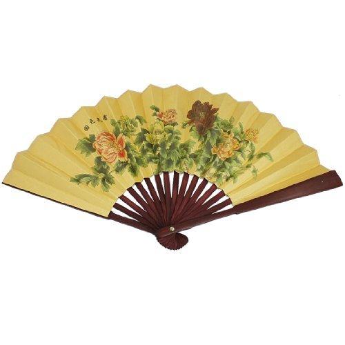 Chinese gedichten Flower Print Bamboo Ribben Stof Folding Fan Hand