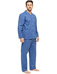 Dannii Matthews Mens Soft Cotton Traditional Classic Button Up Pyjamas Quality PJ Sets for Men Medium to XX-Large