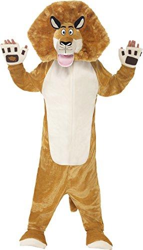 Smiffys, Kinder Unisex Alex der Löwe Kostüm, All-in-One mit gepolstertem Kopf, Madagascar, Größe: M, (Kostüm Amazon Löwe)