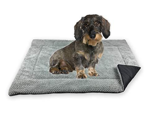 FLUFFINO® Hundedecke - Flauschig, Weich u. Waschbar (Größe S, 73 x 45 cm, grau)- erhöhte Rutschfestigkeit durch Gumminoppen - Für große u. kleine Hunde o. Katzen - Hundematten/Hundekissen, Katzendecke
