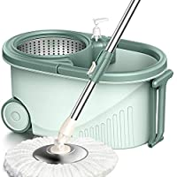 HAOCHIDIAN 360-degree rotation of the head and the mop bucket microfiber cotton suits Nordic Green 24.5cm * 46.5cm * 28cm