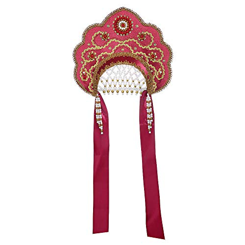 Hut Kostüm Russische - danila-souvenirs Russisch Traditionelles Volkskostüm - Kopfschmuck Kokoshnik Larissa weinrot #799