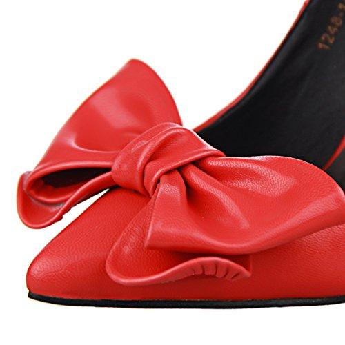 HooH Femmes Simple Bowknot Pointu Escarpins Rouge