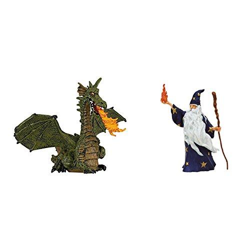 Papo Ritter-Magier Figuren 2er Set - Merlin der Zauberer-Magier und Feuerspeiender Drache mit Flügeln 39025 39005