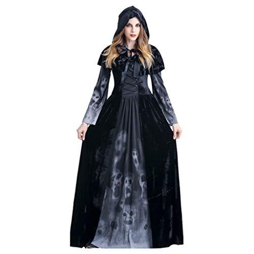 Kostüm Reaper Dame Für Erwachsene - YHNUJMIK Halloween Reaper Rock Seelen Kostüm Langer Rock Terror-Schädel-Kleider Vampir= Rollenspiele Kleidung Bar Bühnenkostüm Für Frauen,L