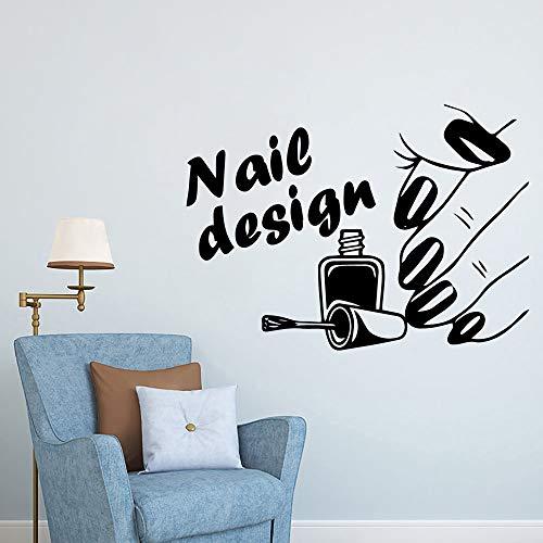 TYLPK Diy art nail salon wandkunst aufkleber wandaufkleber entfernbare wandaufkleber zimmer dekoration vinilo decorativo schwarz l 43 cm x 59 cm
