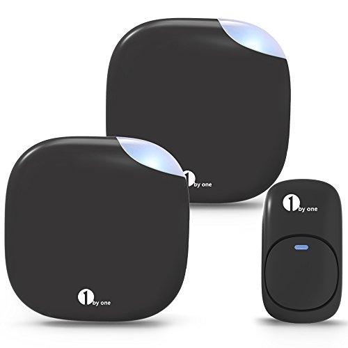1byone Easy Chime Premium Funktürklingel, 2 Plug-In Türgong Empfängern und 1 Sender (Klingeltaste), IP44 Spritzwassergeschützte Türklingel mit Blinklicht und Lautstärkeregelung, Schwarz