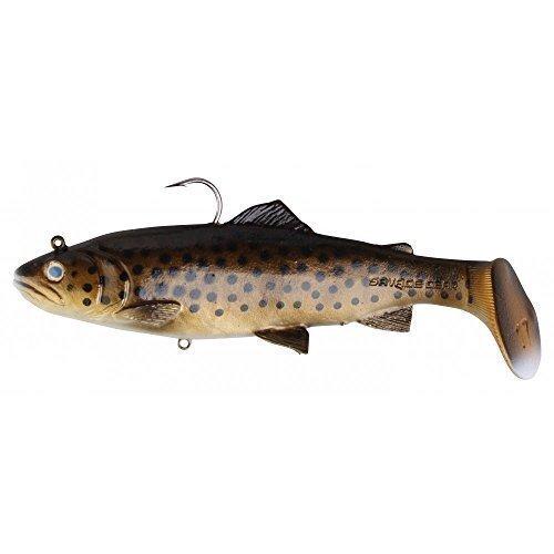 Savage Gear 3D Trout Rattle Shad Gummifische, Farbe:Dark Brown Rainbow;Länge / Gewicht /Schwimmverhalten:12.5cm / 35g / moderat sinkend