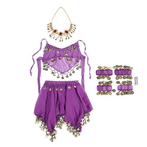 Box Dog Kostüm Tragen - Qinlorgo Kinder Mädchen Bauchtanz Kostüm Set Halloween Outfit Indian Dance Kleidung(One Size-Lila)