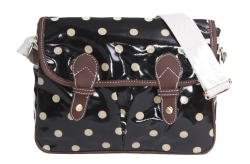 Nouveau style sac bandoulière en toile cirée à pois Mini Sacs Noir - Noir