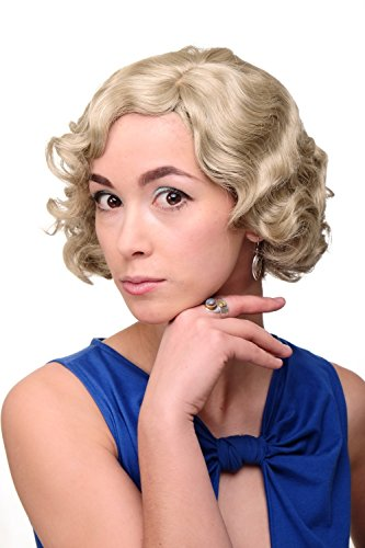 WIG ME UP ® - A4002-22 Peluca mujer Cosplay calidad corto años 20 Hollywood Diva Swing ondulado rubio