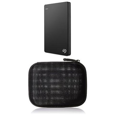 Seagate Backup Plus Slim 2 TB Externe Portable Festplatte (6,4 cm (2,5 Zoll) USB 3.0, schwarz und AmazonBasics Festplattentasche, schwarz