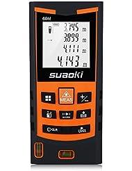 Suaoki S9 60M Télémètre Laser Numérique Precision et Anti-Poussière avec LCD Rétro-éclairage, Laser Mesure Distance Surface Volume, Ecart 2mm Maximum et Notice en Francais(60M)