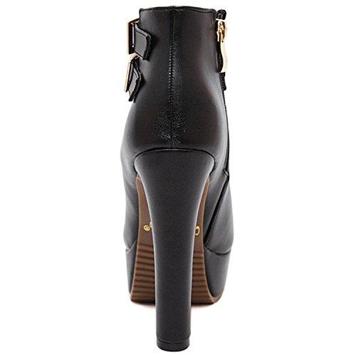 Oasap Femme Boots Cheville Bout Ouvert Talons Hauts Zip Sur Le Côté Plate-forme white