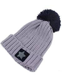 LOCOMO Men Women Boy Girl Star Knit Beanie Crochet Rib Pom Pom Hat Cap Warm FAF024