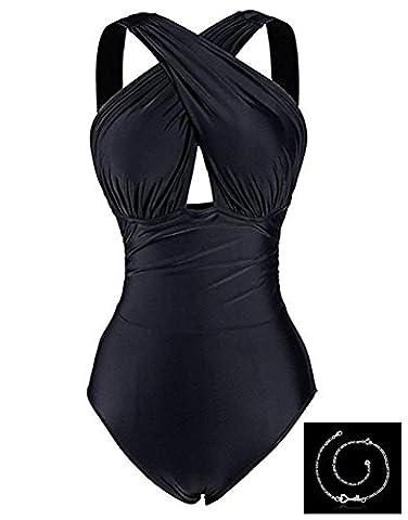 Blazar Maillot de Bain Femme 1 Pièce Noir Grande Taille Gainant Monokini Taille Haut Push Up Halterneck Col V Sexy Bikini Swimsuit pour Piscine, Natation, Bord de la Mer,La Plage,Vacances