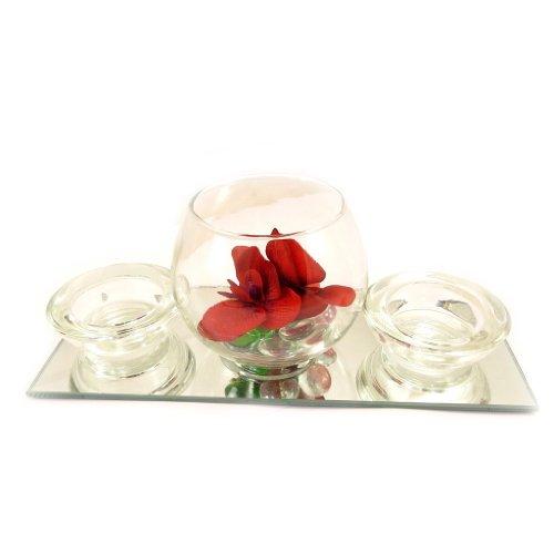 """Set velas flotantes espejo """"Belle De Soie""""(rojo)."""