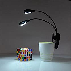 Absales Dual Flexible Neck LED Book Reading Light Lamp with Clip