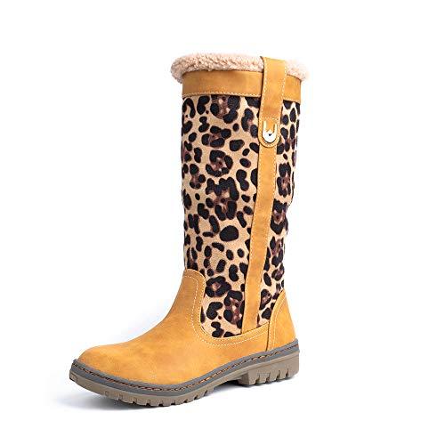Botas Mujer Invierno Botas Nieve 2019 Planas Calentar Piel Forro Botines Sintético Cuero Mode Calzado Antideslizante Boots con Tacón 1.53in Negro Marrón Verde Leopardo EU35-43 Marrón 39