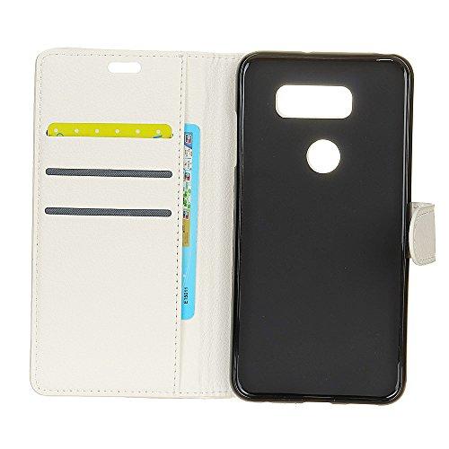 Klassische Litschi Texture PU Leder Schutzhülle Horizontale Folio Flip Stand Case Cover mit Kartensteckplätzen für LG V30 ( Color : Brown ) White