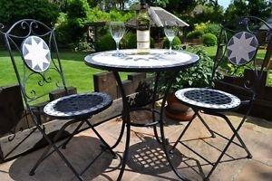 Sedie In Ferro Battuto Pieghevoli : Garden hut set mosaic bistro 1 tavolo e 2 sedie in ferro battuto