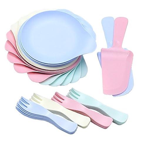 VIMOV Ensemble de coutellerie en plastique durable à quatre couleurs - Comprend 20 plaques rondes et 20 fourchettes, 2 couteaux à gâteaux