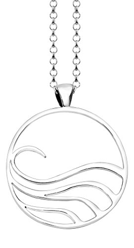 Nenalina Damen Halskette mit Kreis Anhänger Rund und Wellen Motiv (38 mm), Münzanhänger mit Kette für Frauen und Mädchen, 45 cm Damenkette 925 Sterling Silber, KAS-072