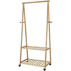 HOMFA Perchero Burro con ruedas Perchero de Bambú con estante para ropa zapatos 77 X 44 X 166 cm