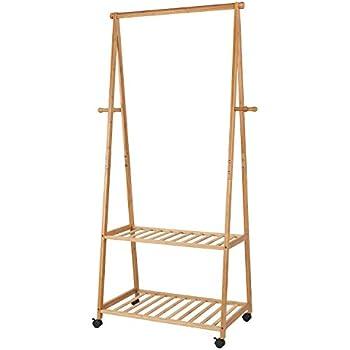 relaxdays kleiderst nder bambus hxbxt 154x73 5x45 cm rollbarer garderobenst nder mit. Black Bedroom Furniture Sets. Home Design Ideas