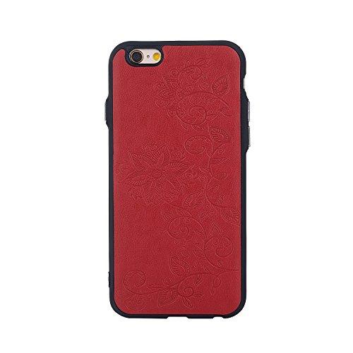EKINHUI Case Cover Rattan-Blumen-geprägtes Muster-Plastik PC-harte rückseitige Abdeckung Schlankes, Anti-Kratzer-Ganzkörperstoßkasten für IPhone 6 u. 6s ( Color : Rose Gold ) Red