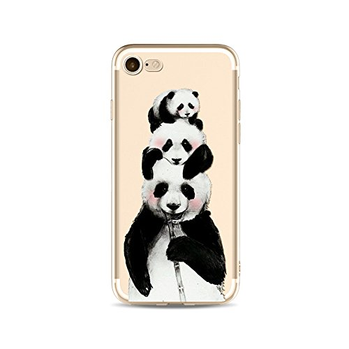 "CoqueiPhone 7 Etui Housse,BoomTeck Coque Pour 4.7"" Apple iPhone 7 Silicone Souple Transparente Motif Clear Ultra Mince Anti Choc Anti-rayures Gel TPU Etui Protection Bumper Case Panda Mignon Bamboo 18"