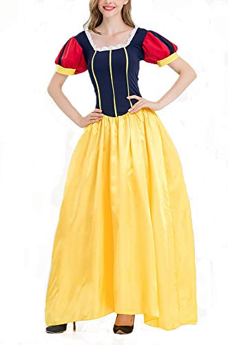 Damen Halloween Kostüm, Schneewittchen Adult Disney Princess Kleid, Märchen Kostüm Party Outfit,A,S (Damen Disney Princess Schneewittchen Kostüm)