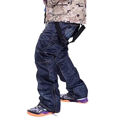 Goodluckshop denim bretelle pantaloni da sci casual jeans da sci impermeabile e traspirante warm skiing pantaloni da snowboard per uomini e donne