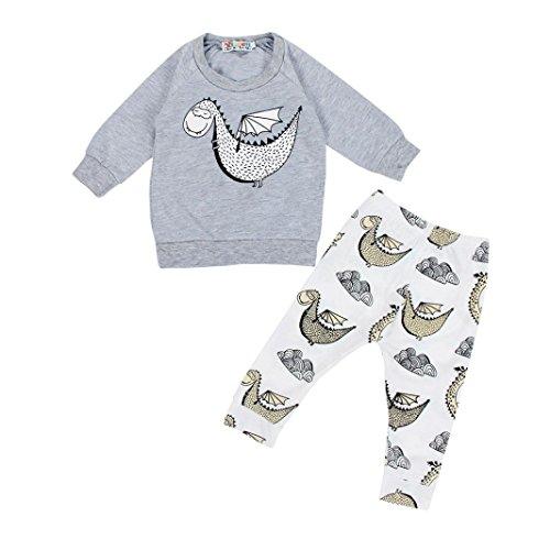 Bekleidung Set Jungen Xinan Baby Sweatshirt Tops + Long Hose Outfits (80, Grau)