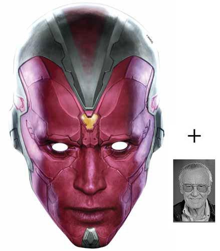 Marvel Kostüm Vision (Vision Marvel Avengers Age of Ultron Single Karte Partei Gesichtsmasken (Maske) Enthält 6X4 (15X10Cm))