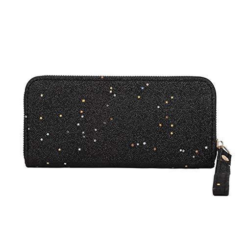 YUEKUOO Damen Lange geldbörse mit reißverschluss Pailletten Glitter geldbörsen handtaschen kartenhalter (Color : Schwarz, Größe : M) (Glitter Geldbörse Schwarz)