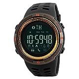 ADAH Deportes Smart Watch Mens Deportes Reloj Digital, Bluetooth Smart Step Contador recordatorio Reloj Apoyo iOS Android Deportes Reloj electrónico,Pulsera para Hombres,CoffeeGold