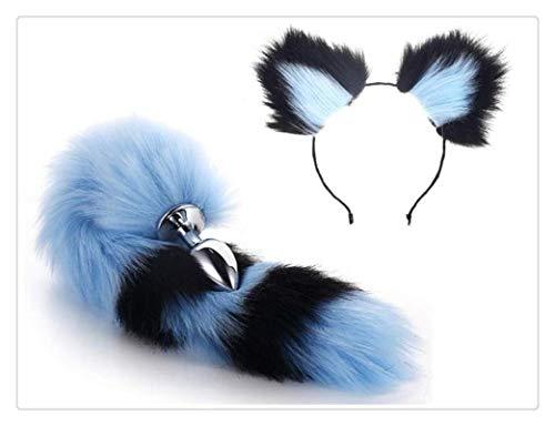 WM-EILIAN Metall Fuchsschwanz Stecker Cosplay (blau und schwarz) Kurze Plüsch Ohr Katze Party Spielzeug Liebe Geschenkset