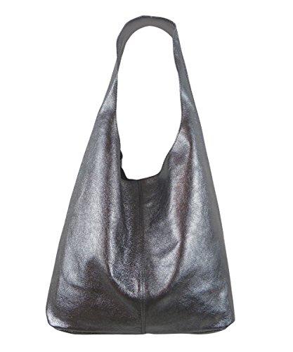 Freyday Damen Ledertasche Shopper Wildleder Handtasche Schultertasche Beuteltasche Metallic look (Braun)