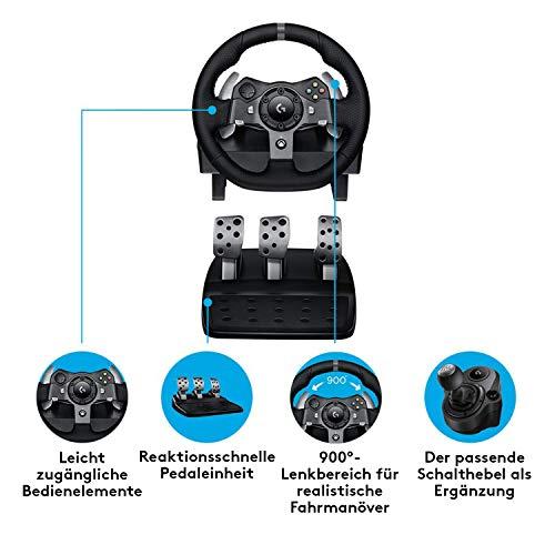 Bild 3: Logitech G920 Driving Force Gaming Rennlenkrad, Zweimotorig Force Feedback, 900° Lenkbereich, Leder-Lenkrad, Verstellbare Edelstahl Bodenpedale, Xbox One/PC/Mac, schwarz