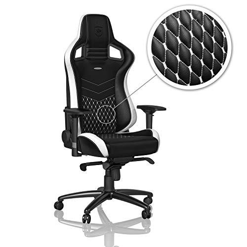 noblechairs EPIC Gamingstuhl - Bürostuhl - Schreibtischstuhl - Echtleder - Schwarz/Weiß/Rot - Lack Schwarz Stuhl