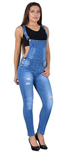 ESRA Damen Jeans Latzhose Skinny Latzjeans Overall Jeans-Latzhose mit Träger H340