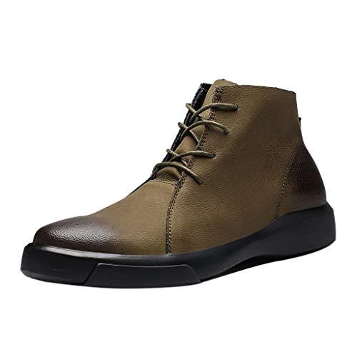 BHYDRY Retro flache, flache Schuhe mit hohem Absatz und runde Schnürschuhe(41,Khaki) -