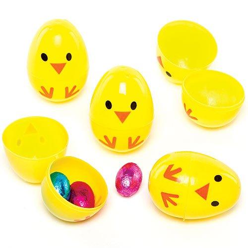 Uova-pulcino apribili in 2 parti in plastica per bambini da riempire di dolcetti per la caccia alle uova di pasqua (confezione da 10)