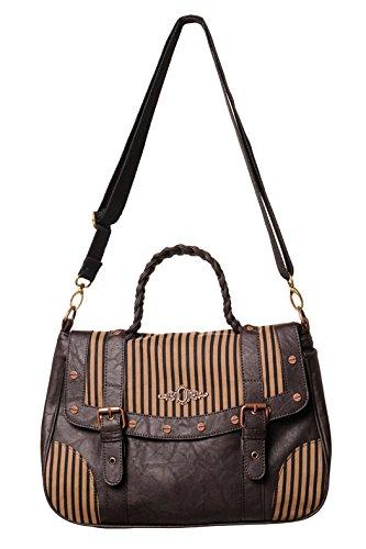 Verboten - ARAMINTA - Damen braun gestreifte Handtasche (Dämon-schädel-tattoo)