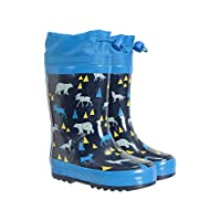 Mountain Warehouse Pattern Winter Junior Wellies - Lightweight Rain Shoes, Eva Midsole, Easy Clean Kids Wellington Boots, Rubber Outsole - Childrens Footwear for Walking