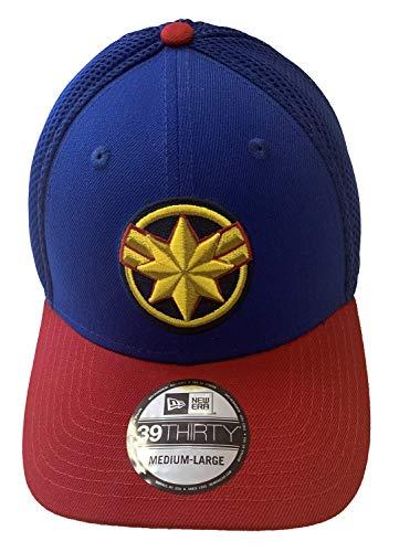 Captain Marvel Movie Logo Royal and Red PX Neo New Era 39Thirty Flexfit Cap Cap Mütze, Größe M/L -