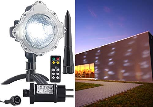 Lunartec LED Projektor Schneefall: LED-Kugellampe mit Schneefall-Effekt und Ausschalt-Timer, weiß, IP44 (Laserlicht-Projektor)