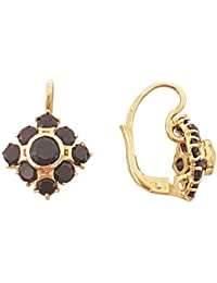 Superstar Boucles d'Oreilles Femme en Or 18 carats Jaune avec Grenat, 4.1 Grammes