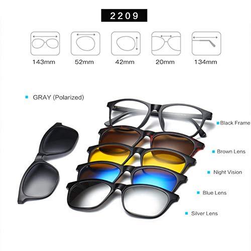 TDPYT Optische Brillengestell Männer Frauen Magnetische Sonnenbrille Polarisiert Für Männliche Myopie Brillen Mit 5 Clip Auf Brille